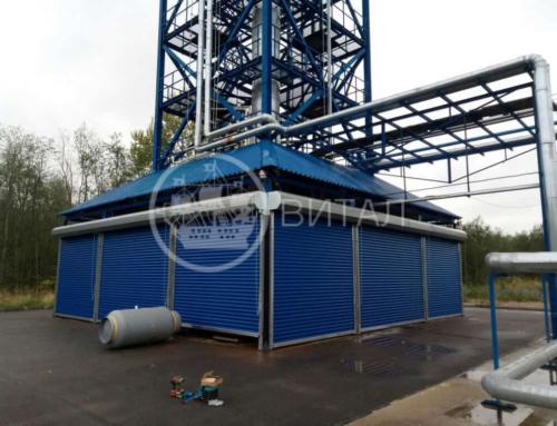 Установка 11 рулонных ворот для химического производства